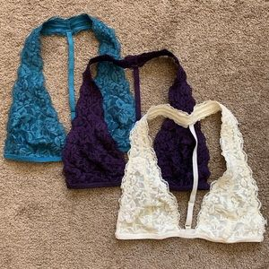 Three Free People Lace Racerback Bralettes S